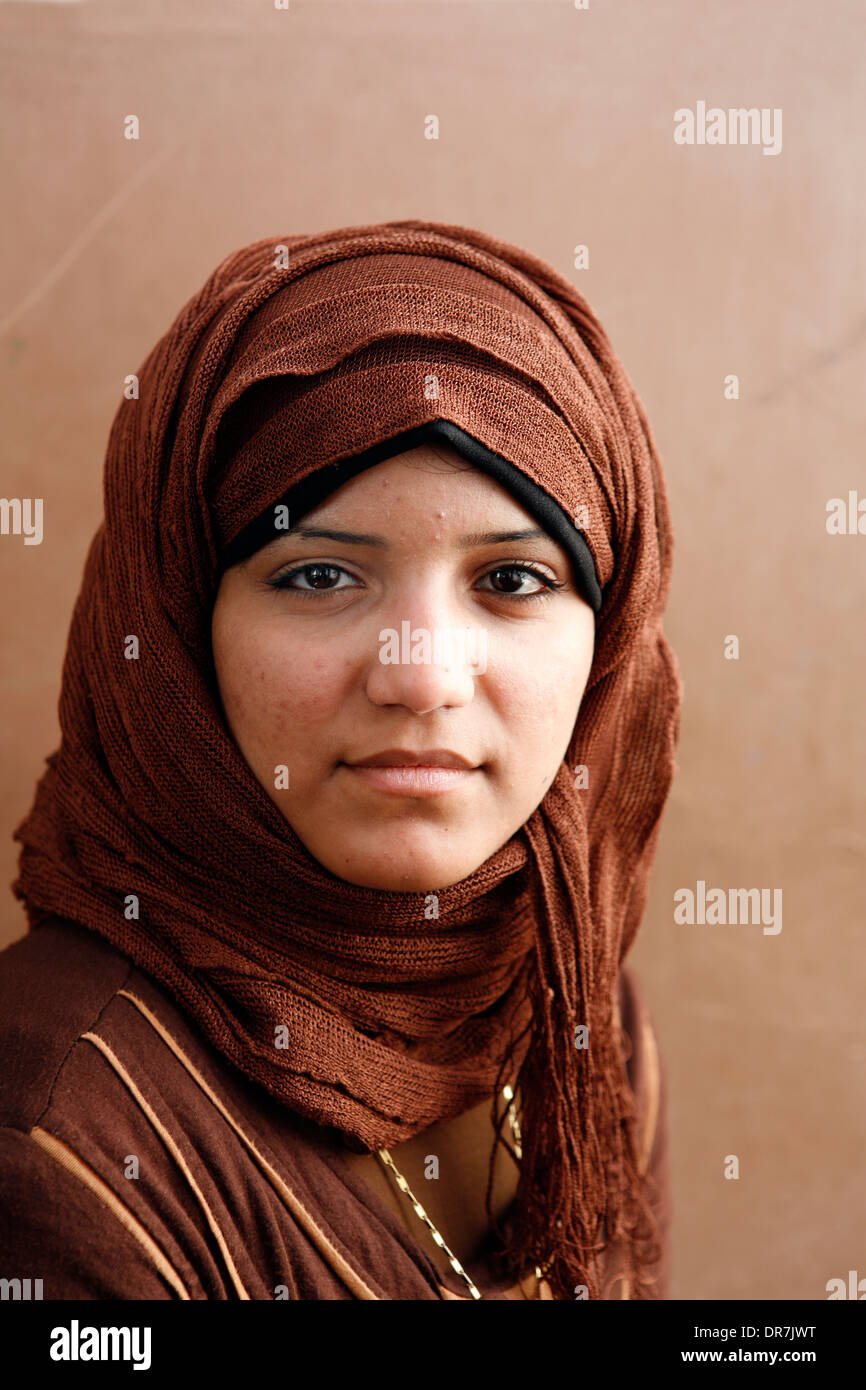 Karema (19) who was forced to undergo Female Genital Circumcision by her mother. Manial Sheiha Village group. Giza Egypt. - Stock Image