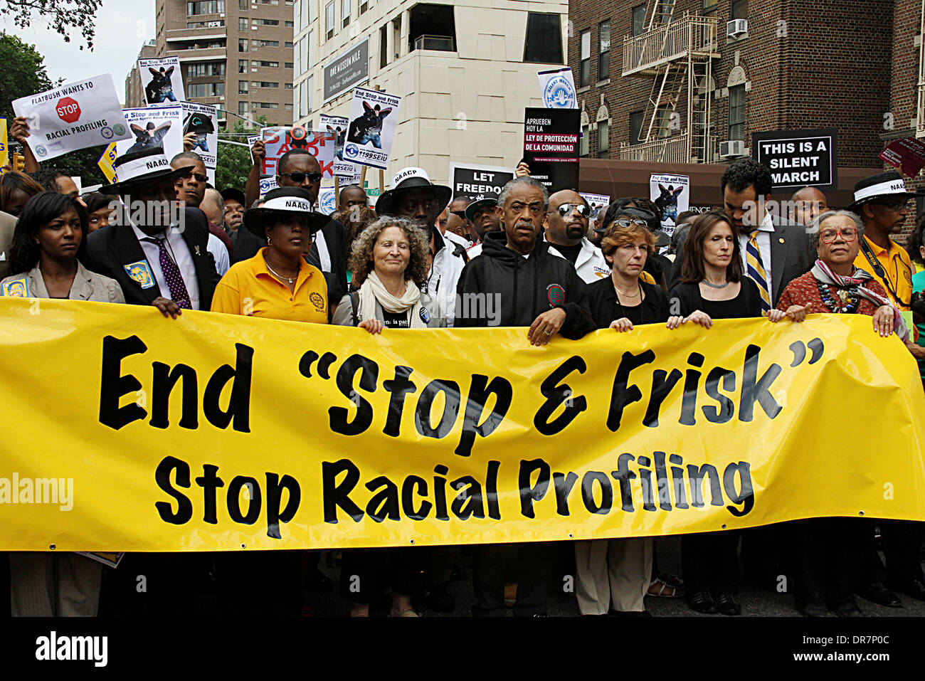 Rev Al Sharpton and campaigners during the Silent March Against Stop and Frsik New York City, USA - 17.06.12 - Stock Image