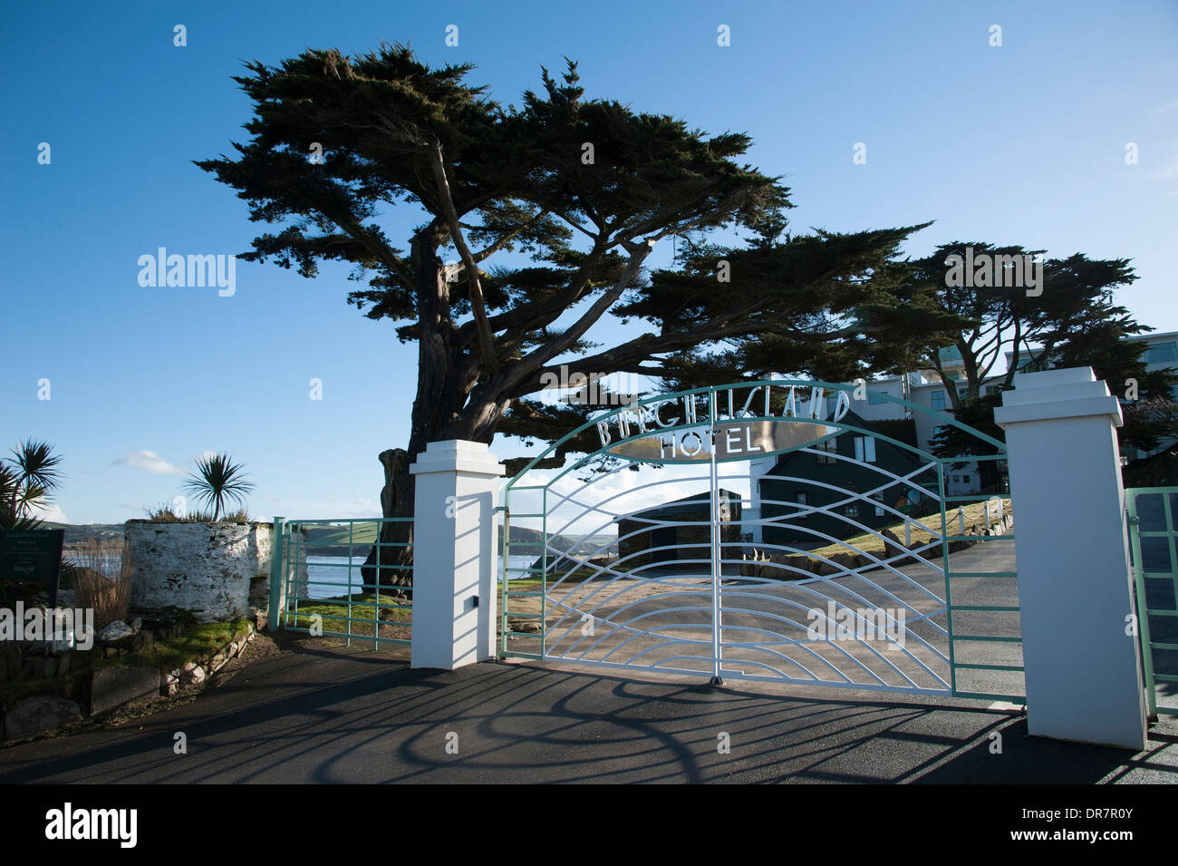 Burgh Island Hotel entrance gates South Devon UK - Stock Image
