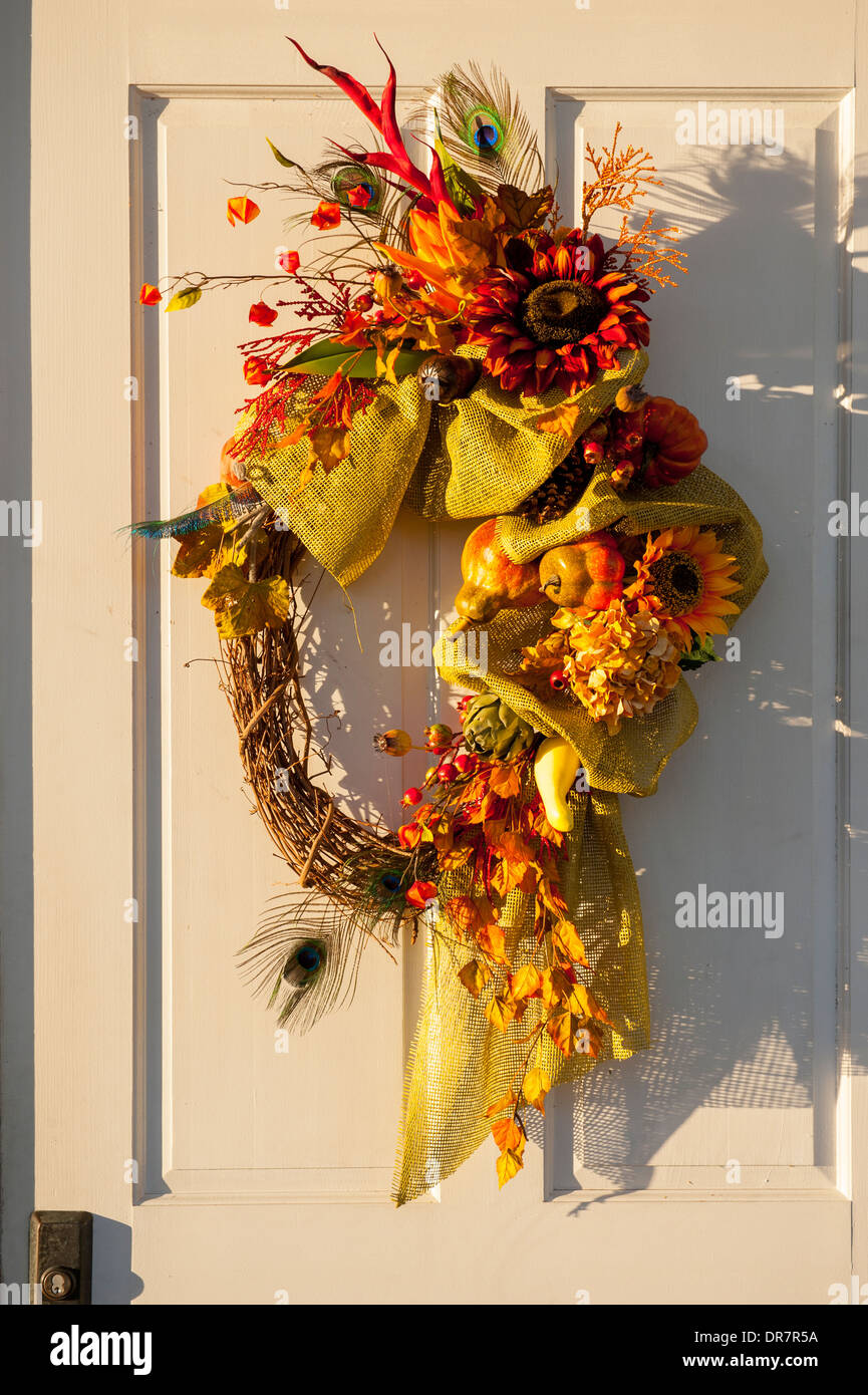 Fall Thanksgiving Wreath Decorations Front Door Of A Home