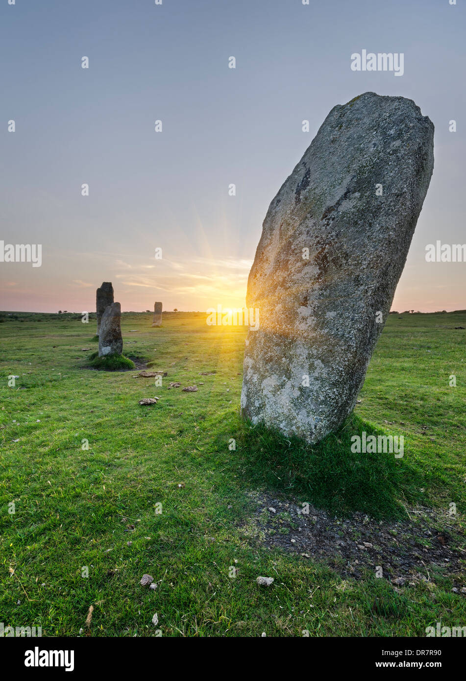 Standing stones at the Hurlers a stone circle at Minions on Bodmin Moor in Cornwall - Stock Image