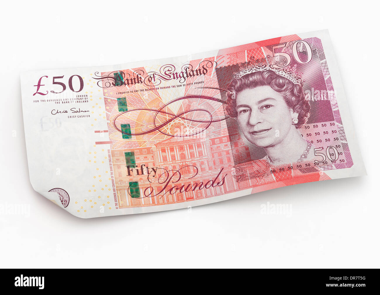 50 Pound Note Sterling British Currency on white background - Stock Image