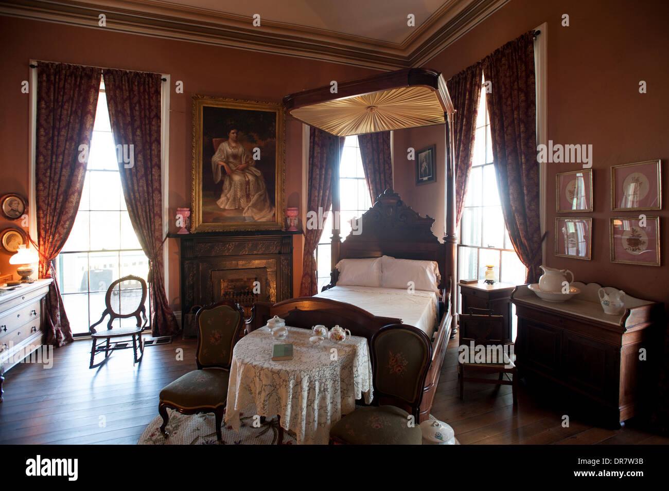 USA Mississippi MS Biloxi Interior Of Home Of Jefferson Davis President Of  The Confederate States Of America Civil War Bedroom