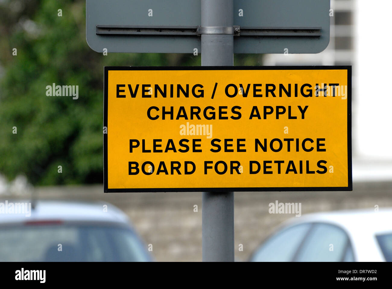 Maidstone, Kent, England, UK. Sign in a car park - evening / overnight charges - Stock Image