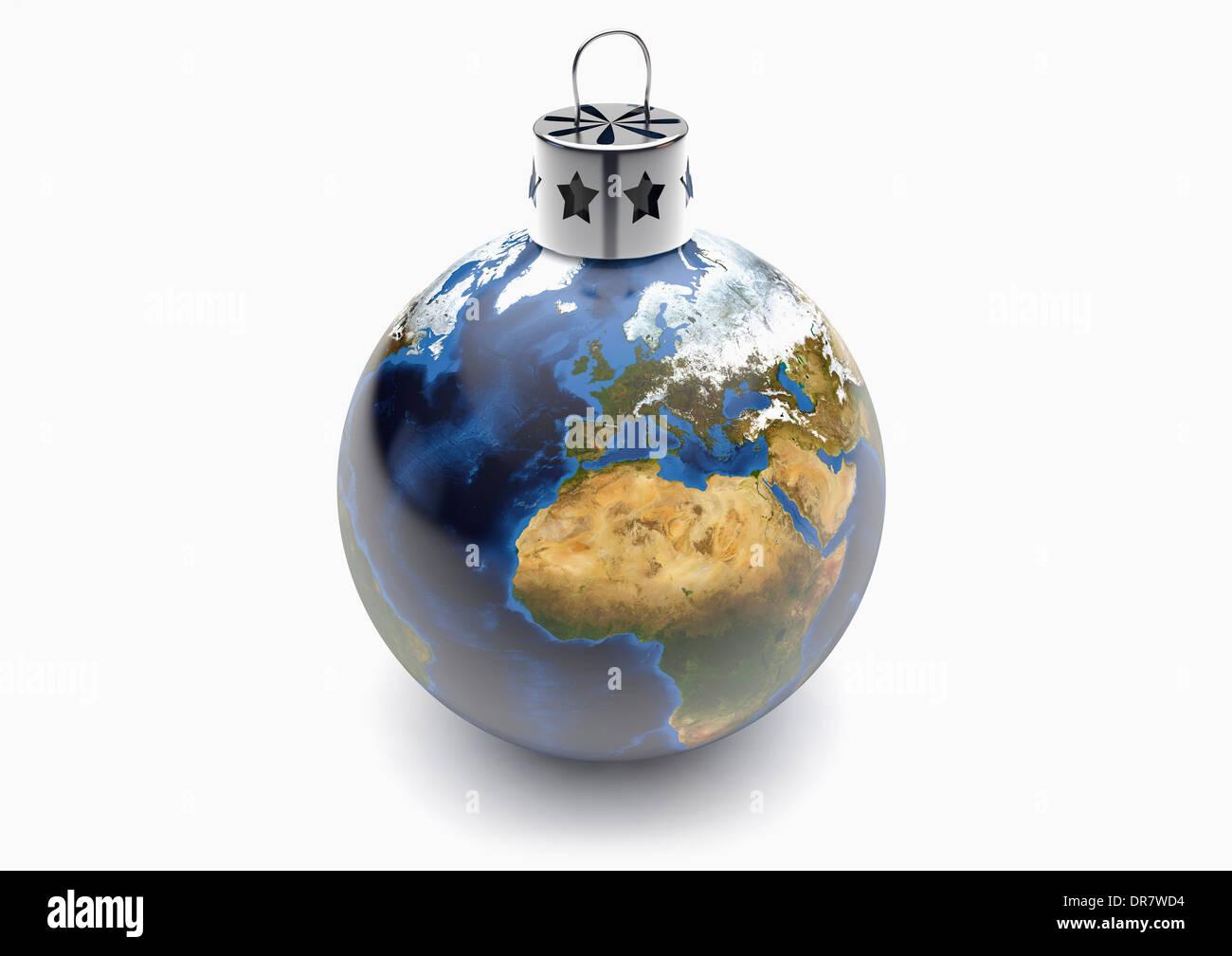 Planet Earth Globe Christmas Tree Bauble Decoration - Stock Image