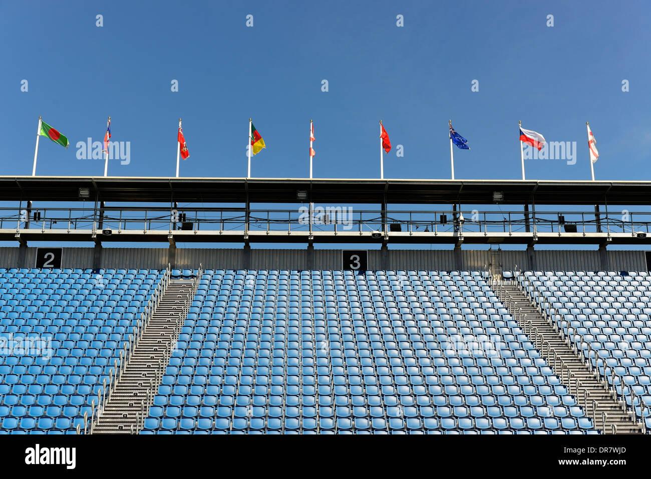 Empty grandstand, Edinburgh Military Tattoo, Edinburgh Castle, Edinburgh, Scotland, United Kingdom Stock Photo
