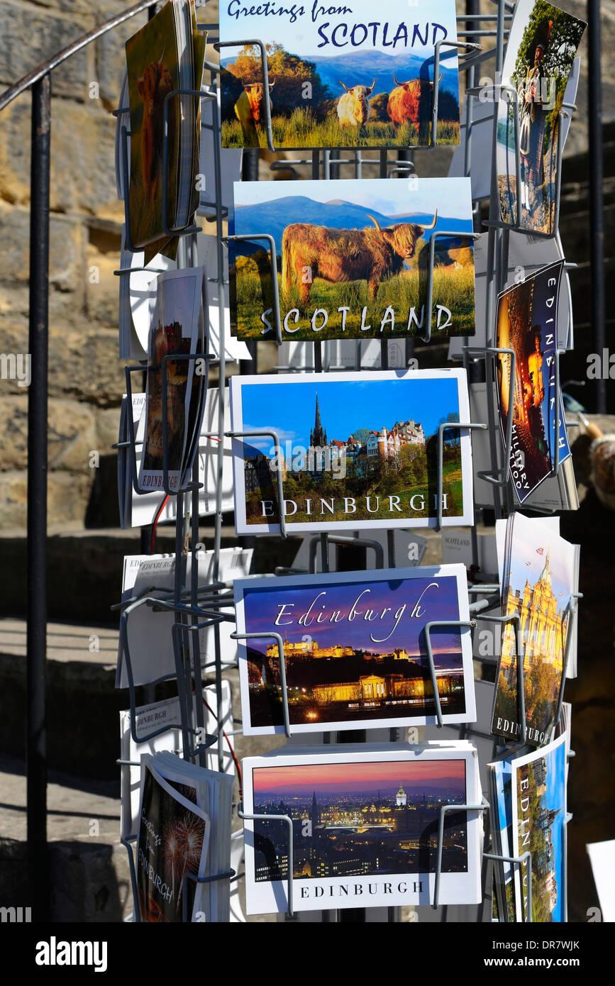 Postcards, Edinburgh, Scotland, United Kingdom - Stock Image