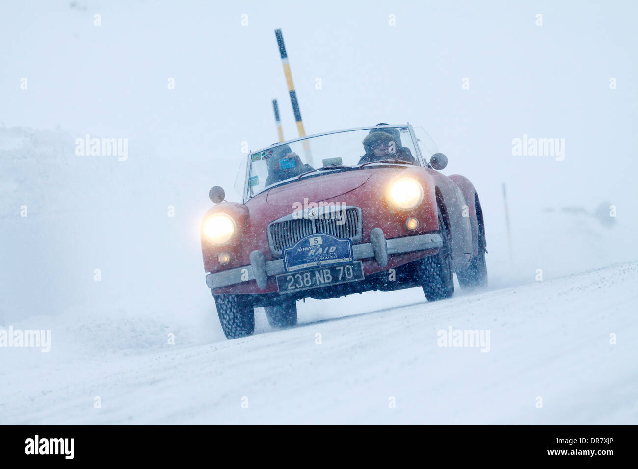 Vintage car rally, WinterRAID 2013, MG A 1500, built in 1956, Bernina Pass, St. Moritz, Engadin, Switzerland - Stock Image