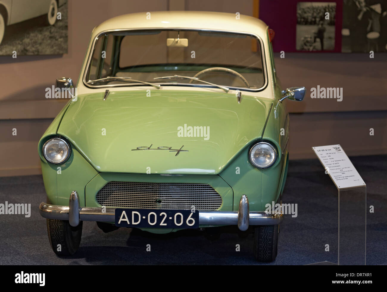 DAF 600 de luxe, Dutch small car from 1959, DAF Museum, Eindhoven, North Brabant, Netherlands - Stock Image