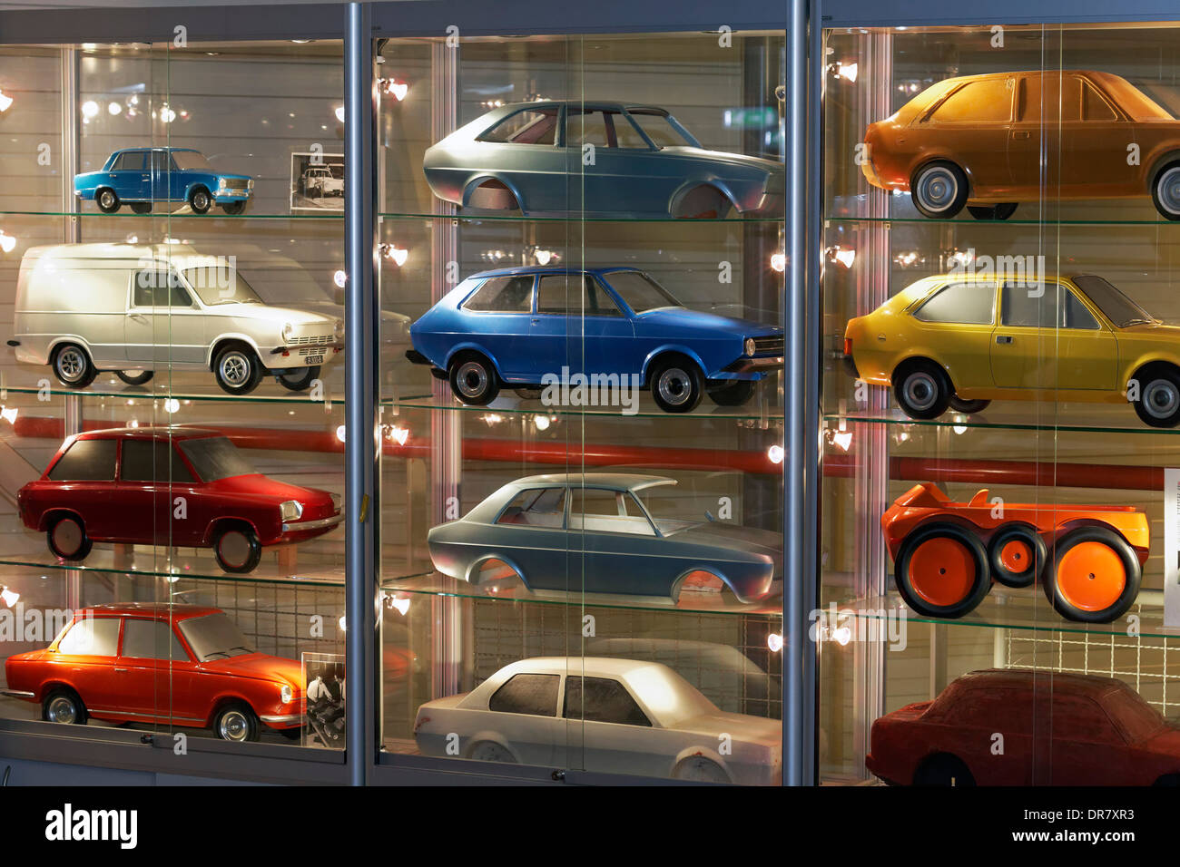 Car models of the Dutch car brand DAF, in a showcase, DAF Museum, Eindhoven, North Brabant, Netherlands - Stock Image