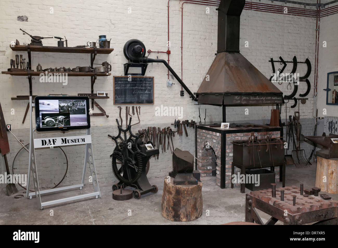Historic forge from 1928, DAF Museum, Eindhoven, North Brabant, Netherlands - Stock Image