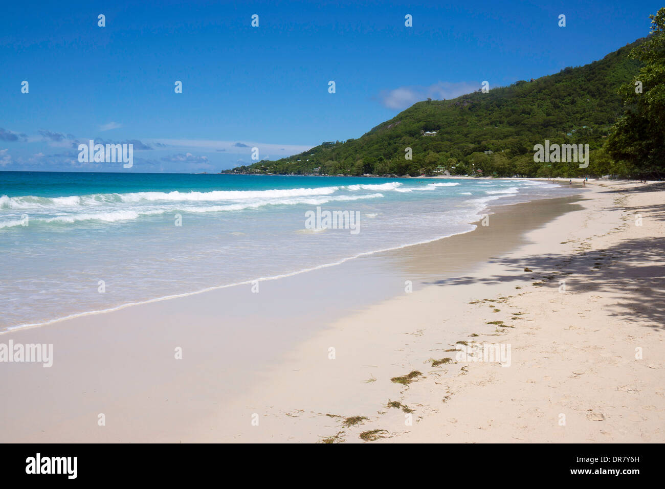 Deserted beach, Beau Vallon, Mahe, Seychelles - Stock Image