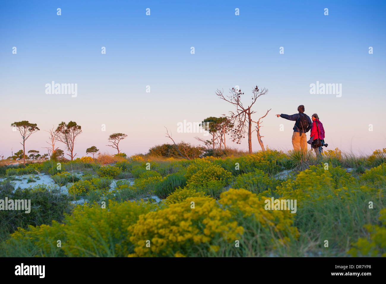 USA Mississippi MS Horn Island - Gulf Islands National Seashore - Barrier island in Gulf of Mexico near Biloxi - couple nature - Stock Image