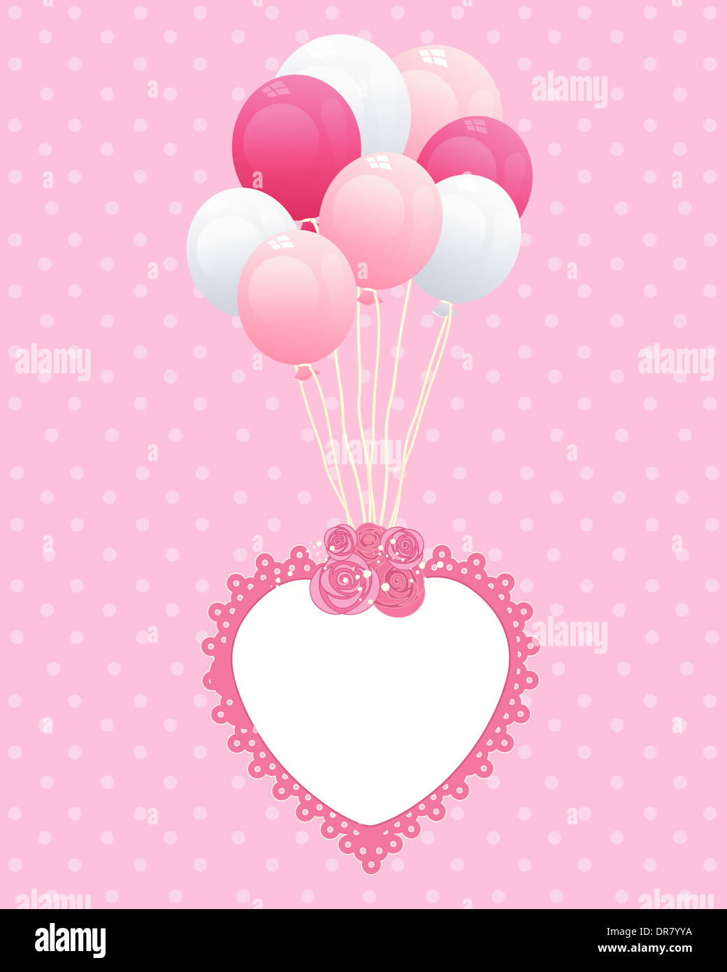 an illustration of a romantic greeting card design with fancy heart