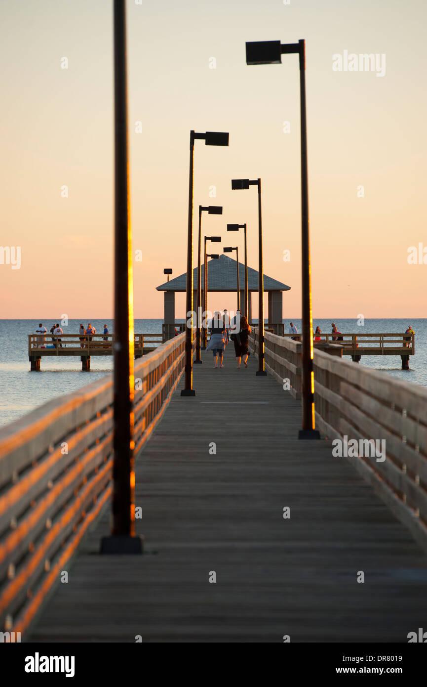 Usa Mississippi Ms Biloxi Fishing Pier On The Gulf Of Mexico Beach Stock Photo Alamy
