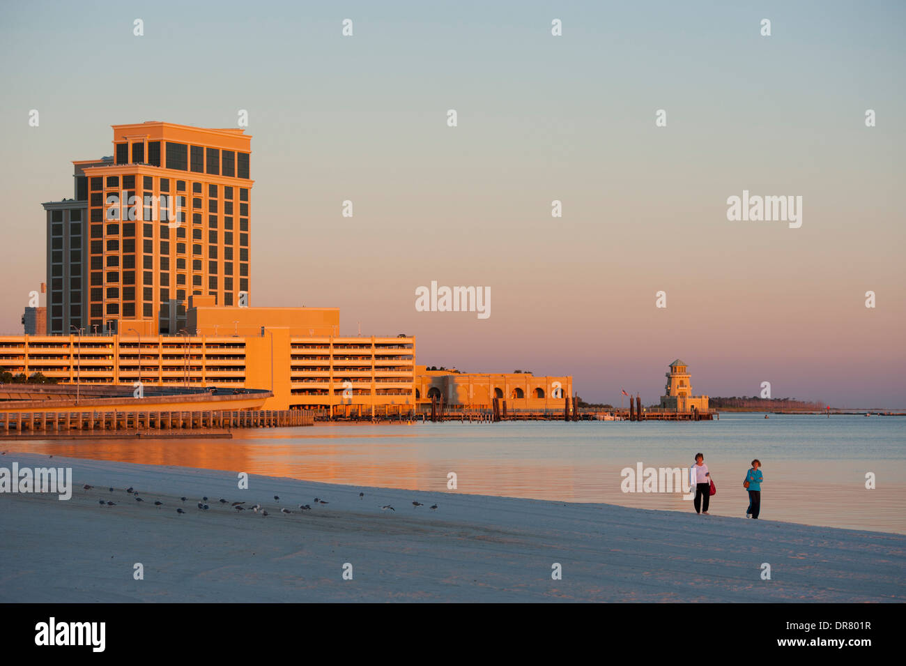 Usa Mississippi Ms Biloxi Beach At Sunset On The Gulf Of Mexico