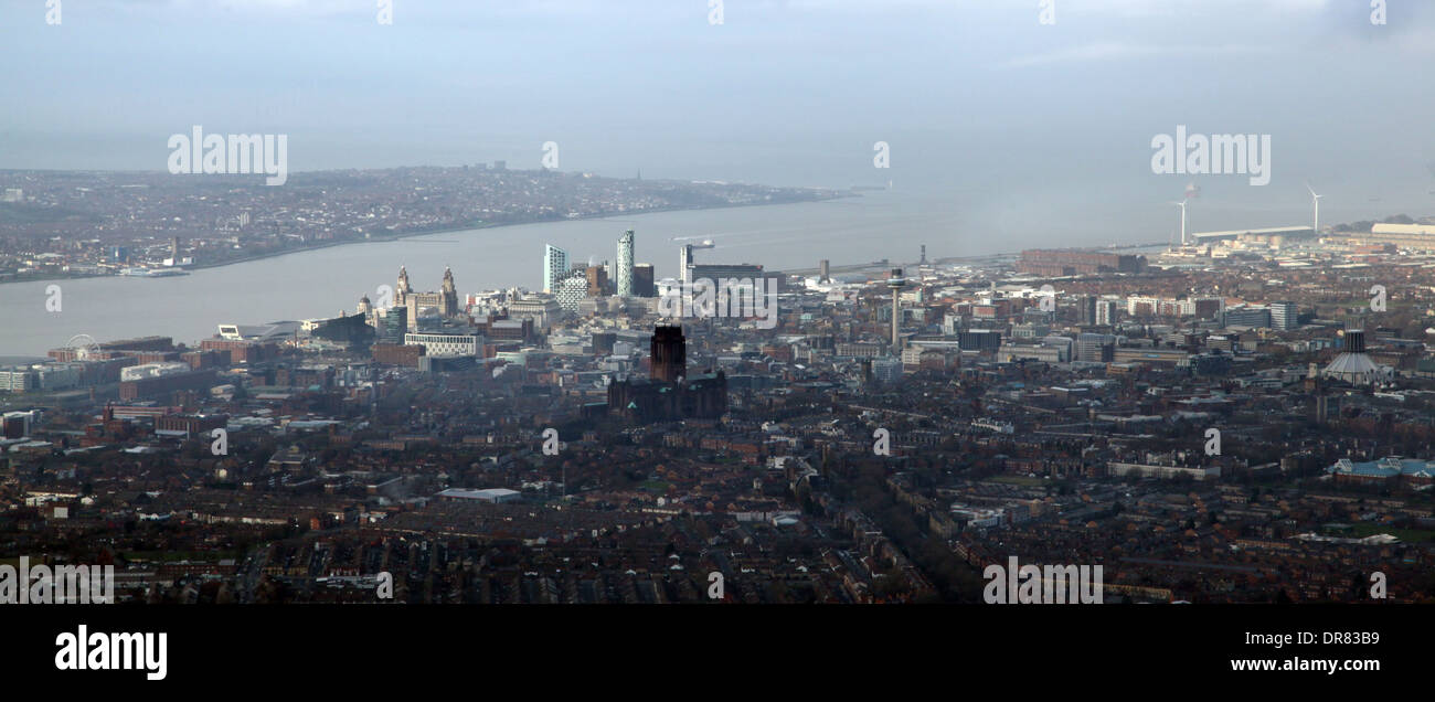 aerial view of the Mersey and Liverpool skyline Stock Photo