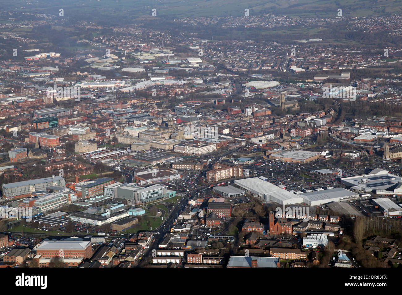 aerial view of Bolton in Lancashire - Stock Image