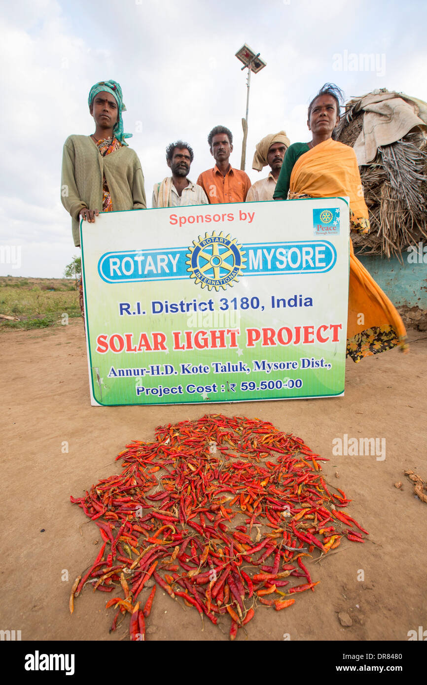 Untouchable people with a solar panel that powers their hut. - Stock Image