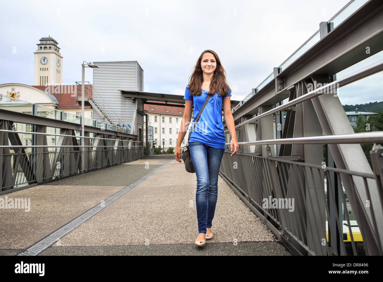 Portait of a teenage girl in the town. Sonneberg, Thuringia, Germany - Stock