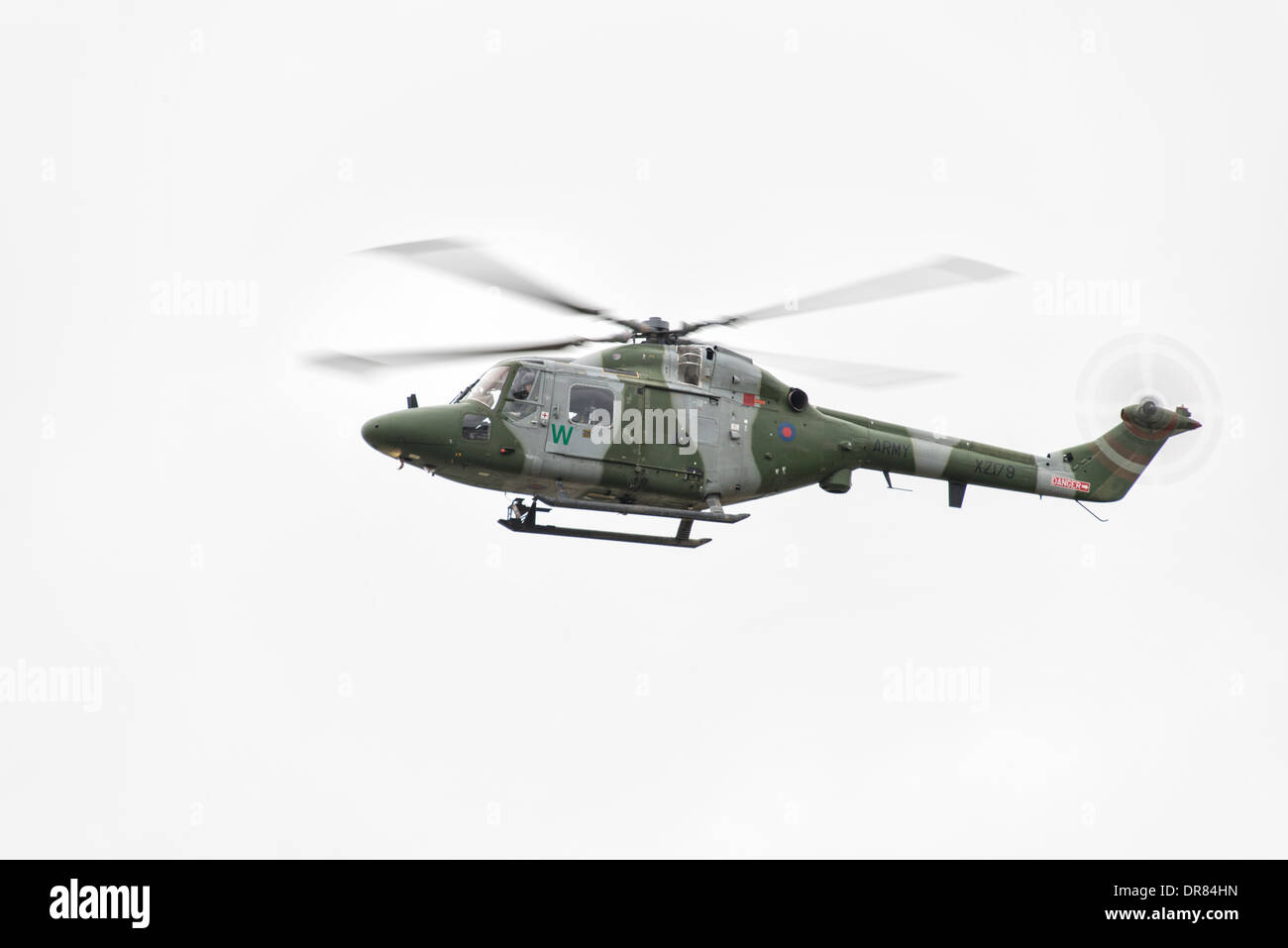 British Army Helicopter a Westland Lynx AH7 from 671 Squadron based at Middle Wallop in Hampshire displays at the 2013 RIAT - Stock Image