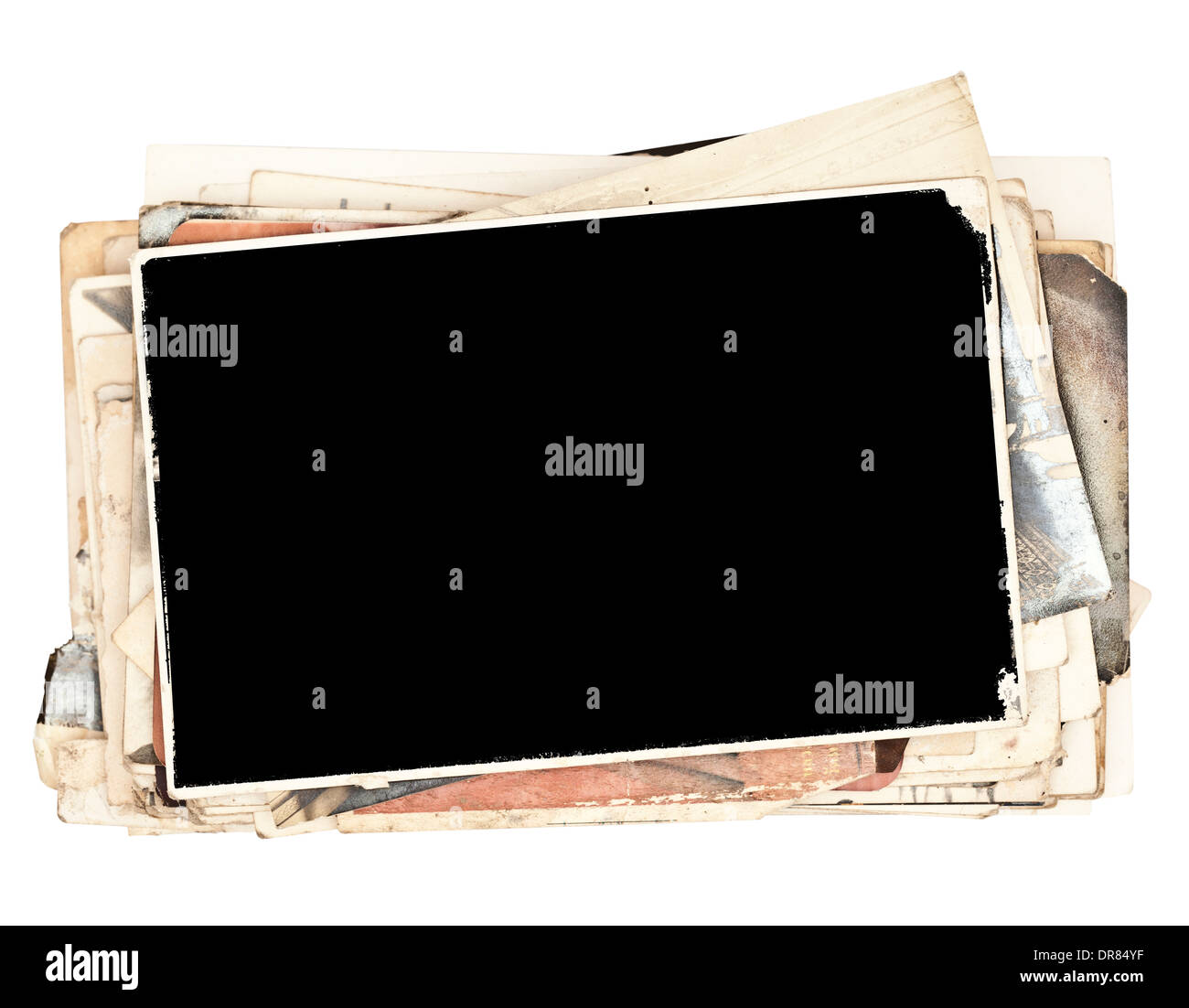 Stack of old photos isolated on white (with clipping parth) - Stock Image