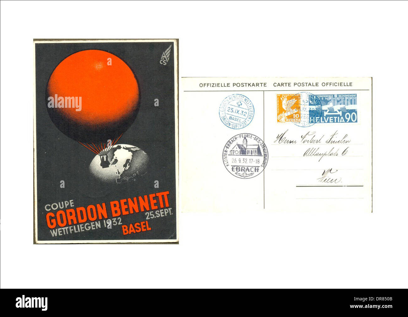 Front and back of postcard celebrating Gordon Bennett aviation competition - Stock Image