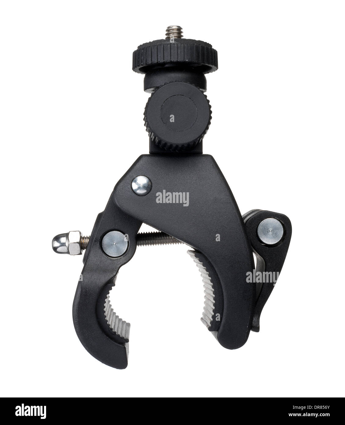 A clamp used to attach a camera to bicycle handlebars - Stock Image