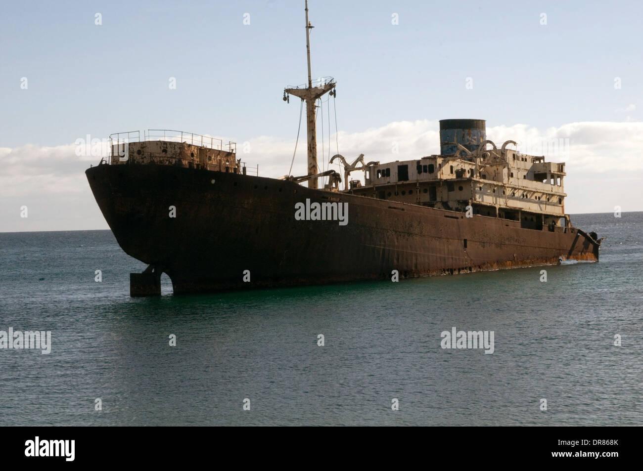 Lanzarote Shipwreck between Arrecife and Costa Teguise Temple Hall Pantelis Telamon ship ships shipping wreck wrecks sunk sinkin - Stock Image