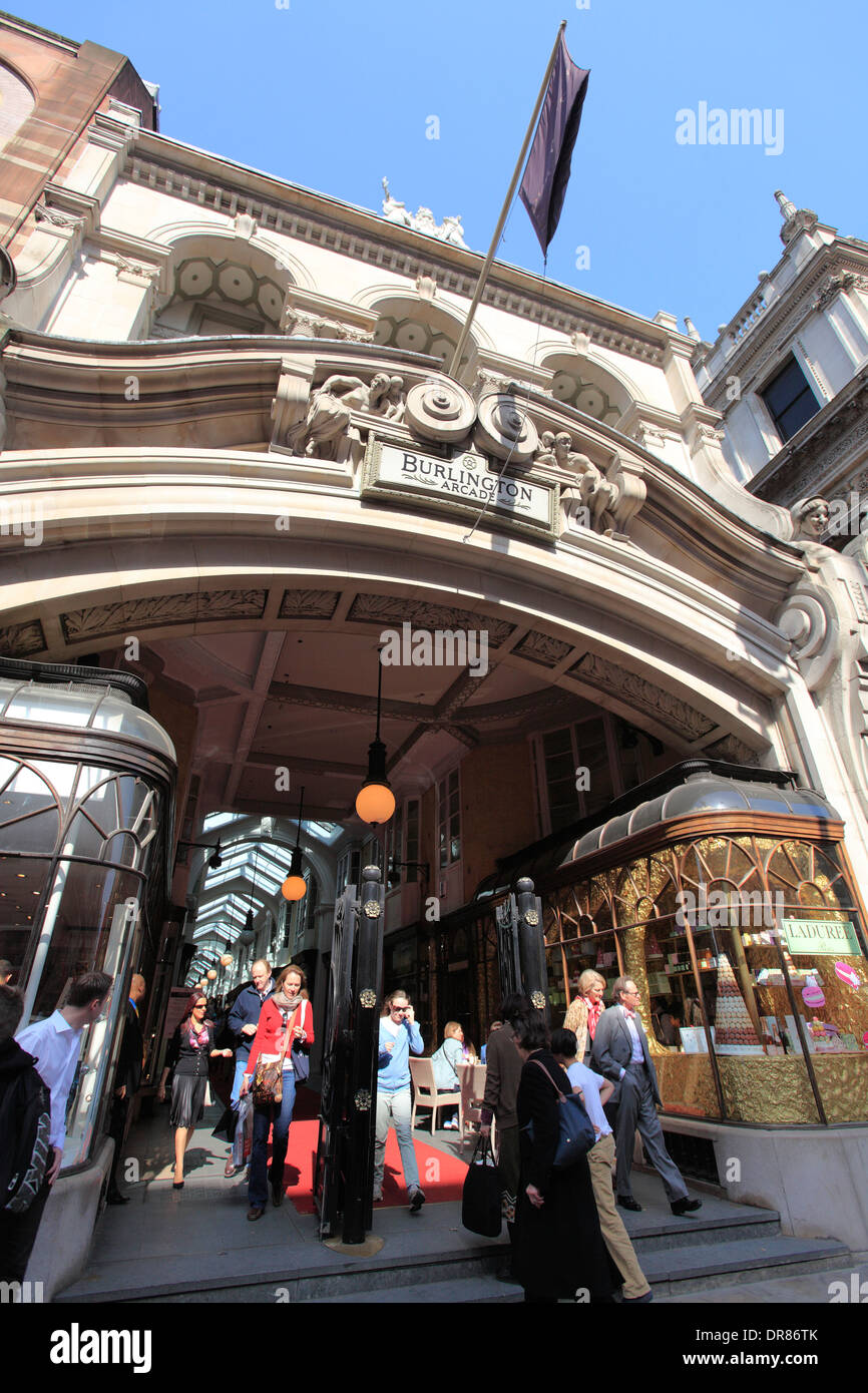 united kingdom central london piccadilly entrance to the burlington arcade - Stock Image