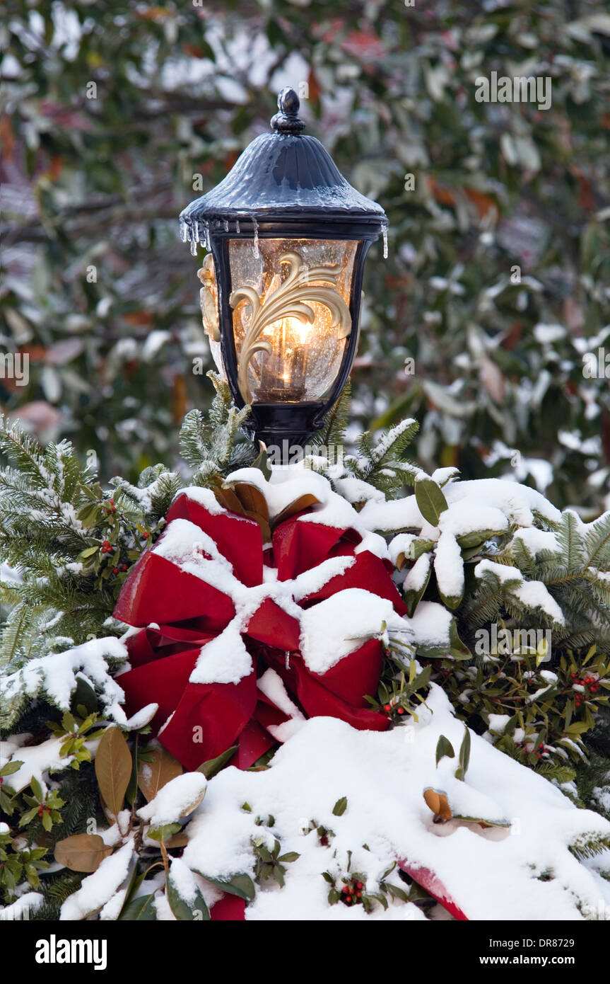 lamp post decorated for christmas stock image