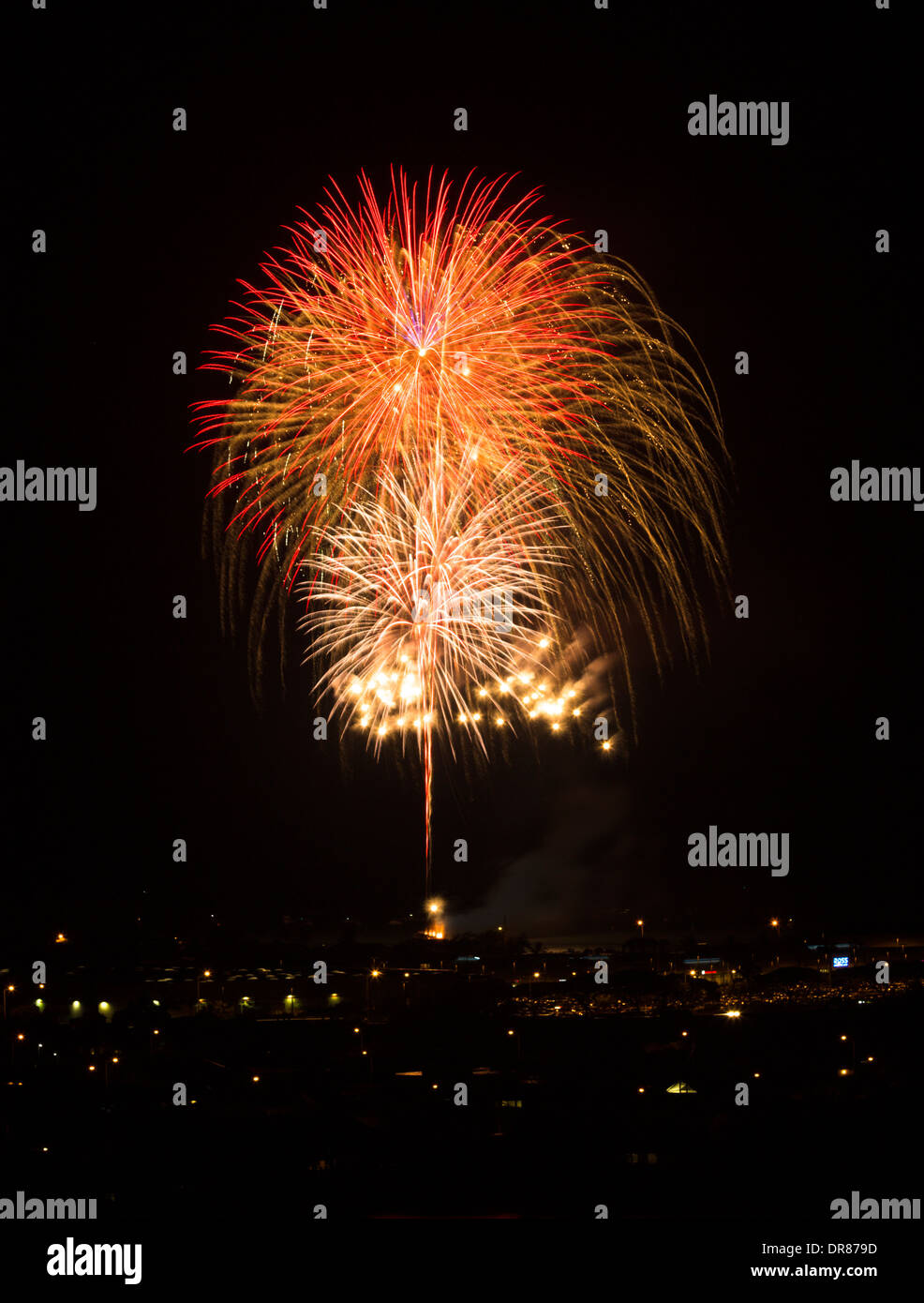 Fourth of July Fireworks on Maunalua Bay in Hawaii Kai Stock Photo