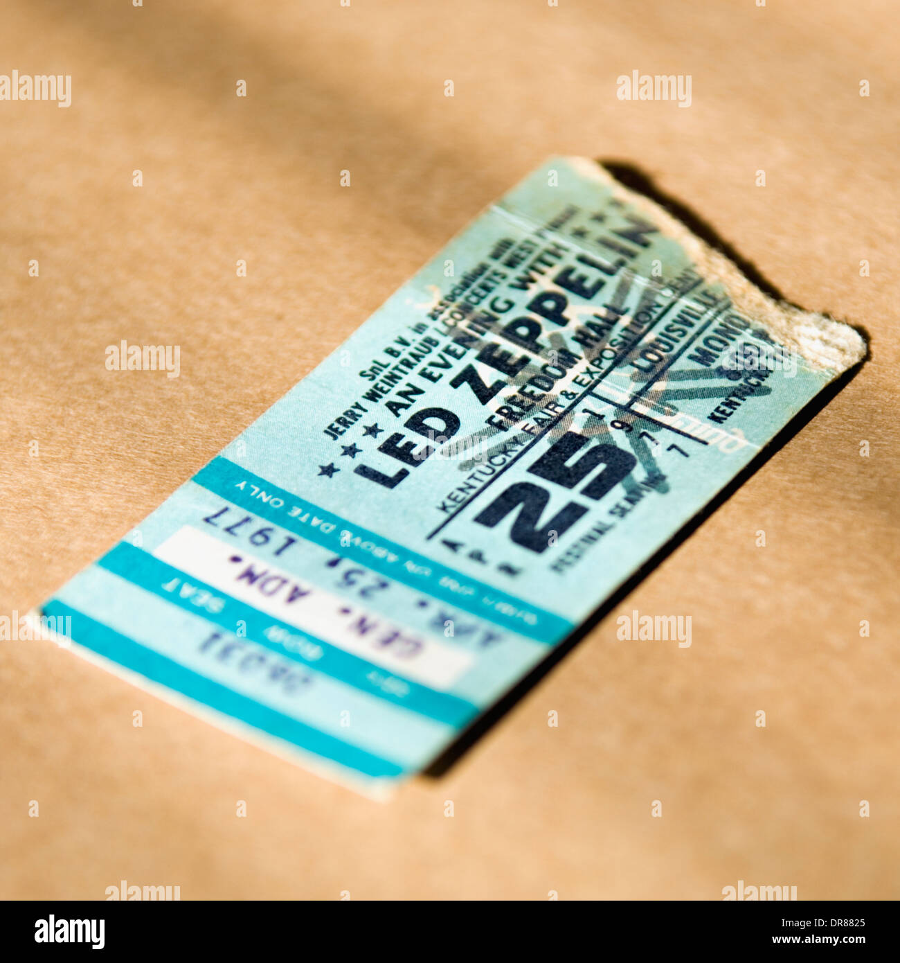 Led Zeppelin Ticket Stub from 1977 - Stock Image
