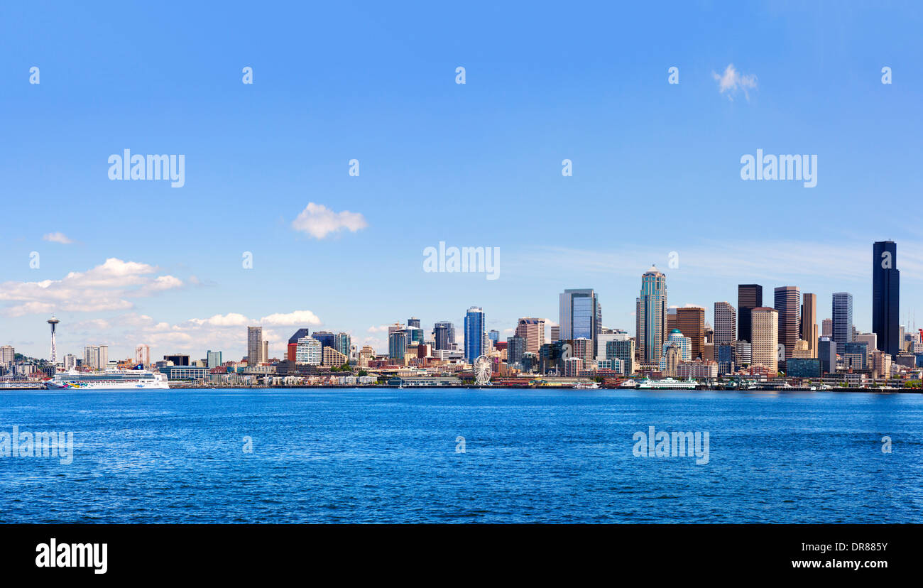 Downtown skyline and waterfront district from an Argosy harbor cruise boat, Seattle, Washington, USA - Stock Image