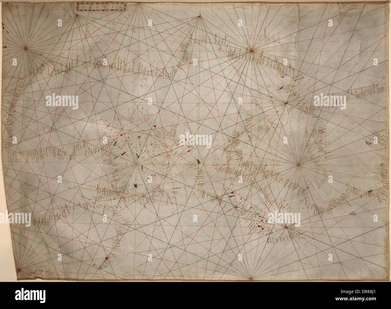 Nautical chart of the Mediterranean and Black Sea circa 1320-1350 likely from Genoa, Italy. Hand draw with pen and Stock Photo