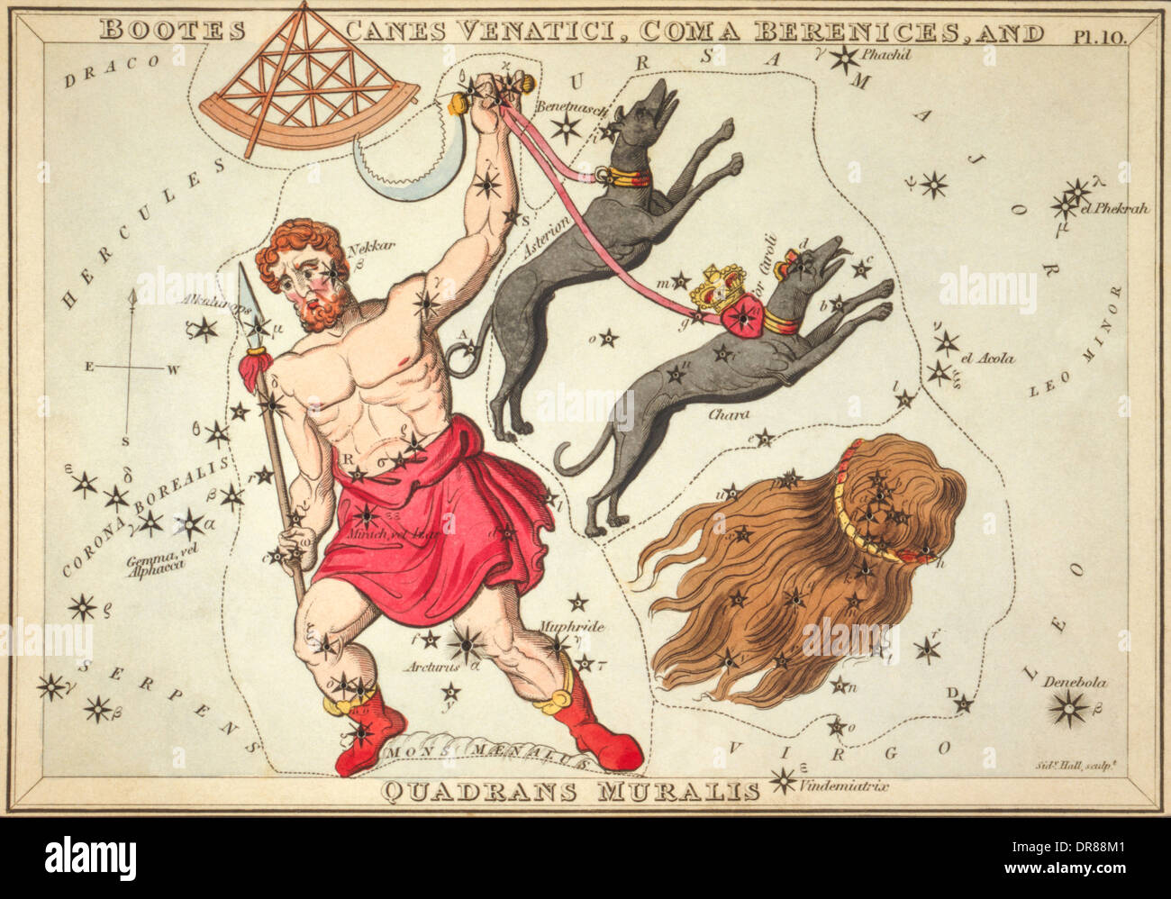Plate 10 from Urania's Mirror boxed set of constellation cards published circa 1825 by Samuel Leigh of the Strand, Stock Photo
