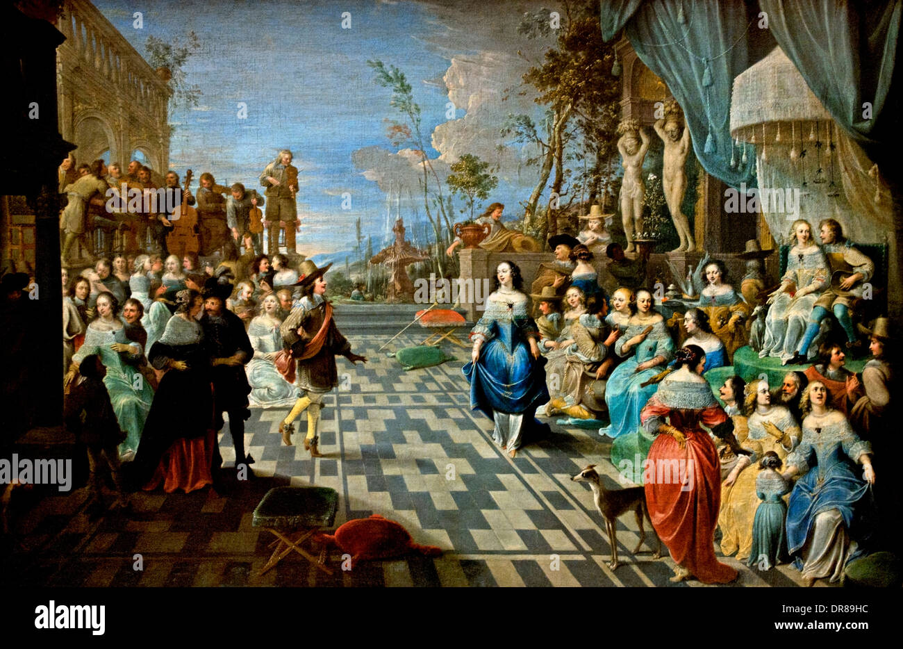 Ball on the terrace of a palace in 1658 Hieronymus Janssens ( The Dancer ) 1624-1693 Belgian Belgium - Stock Image