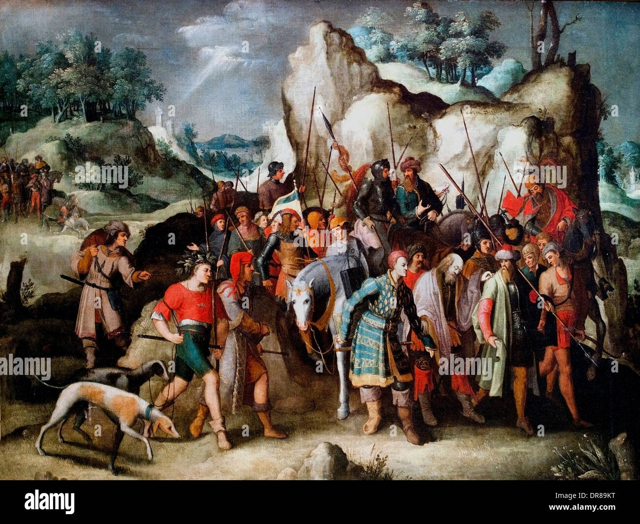Peter Bruegel the Younger 1564-1638 St. Paul led to Damascus after his conversion  Belgian Belgium - Stock Image