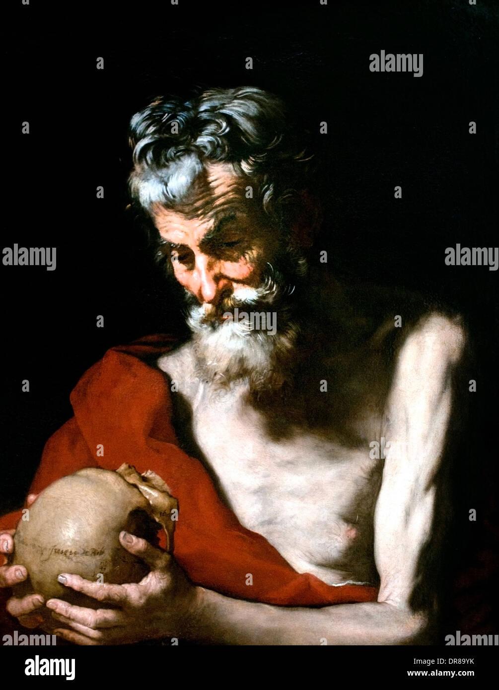 Saint Jerome 1643 Jusepe de Ribera 1591-1652  Spain Spanish - Stock Image