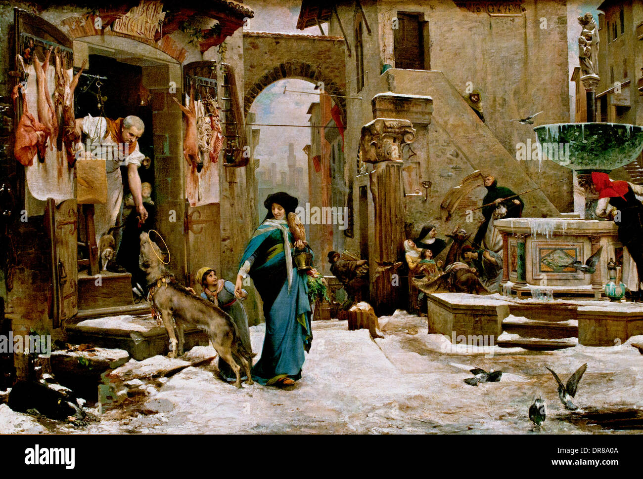 The Wolf of Agubbio 1878 (MIRACLE SAINT Francis of Assisi on the place OF GUBBIO Italy ) Luc Olivier Merson 1846 Stock Photo