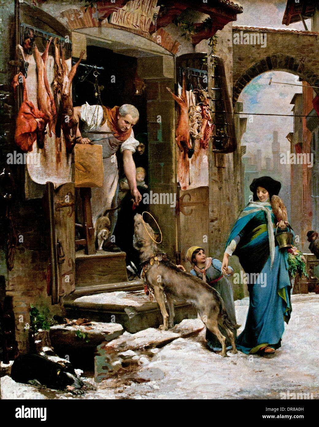 The Wolf of Agubbio 1878 (MIRACKLE SAINT Francis of Assisi on the place OF GUBBIO Italy ) Luc Olivier Merson 1846 Stock Photo