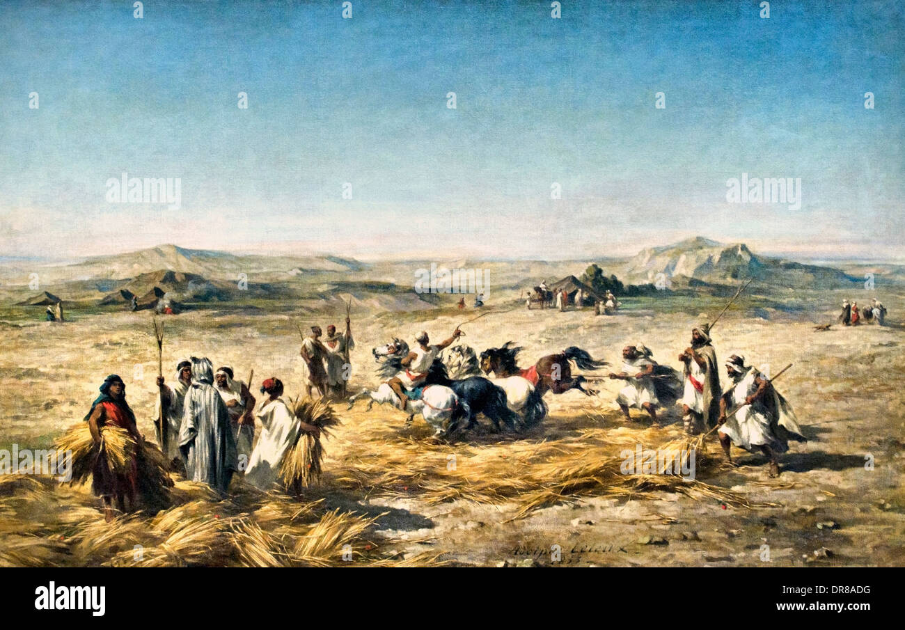 Threshing wheat in Algeria 1853 Adolphe Pierre Leleux  France French 1812-1891 - Stock Image
