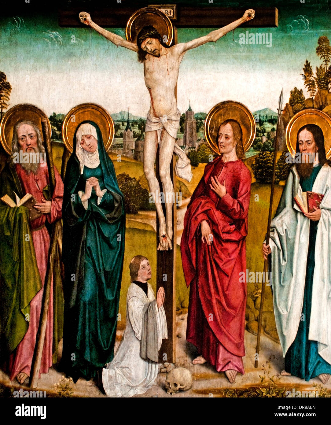 Master of the Life of Mary. From 1463 to 1495. Cologne. Calvary with Donor and Saints. 1480. German German Stock Photo