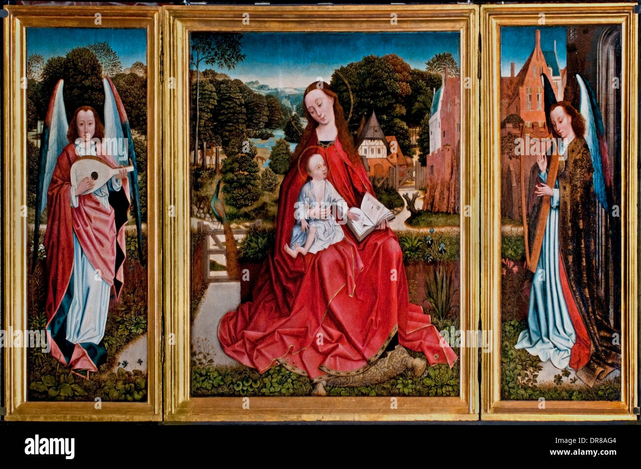 Triptych of the Virgin and Child surrounded by angels musicians 1490 Group foliage embroidered Brussels Belgian Belgium - Stock Image