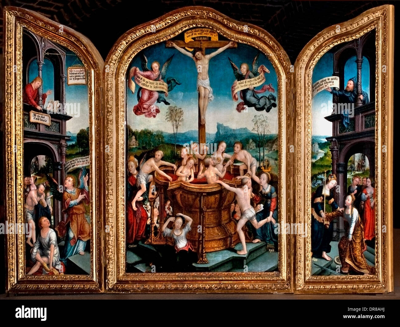 Triptyque du Bain mystique - Triptych of the Mystical Bath - Jean Bellegambe 1470-1534 France French - Stock Image
