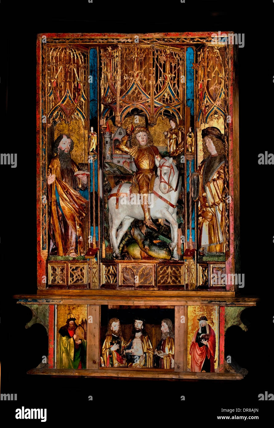 Altarpiece of St. George 1480-1490 Bruneck (South Tyrol) Church Sankt Georgen an der Ahr Italy Italian - Stock Image
