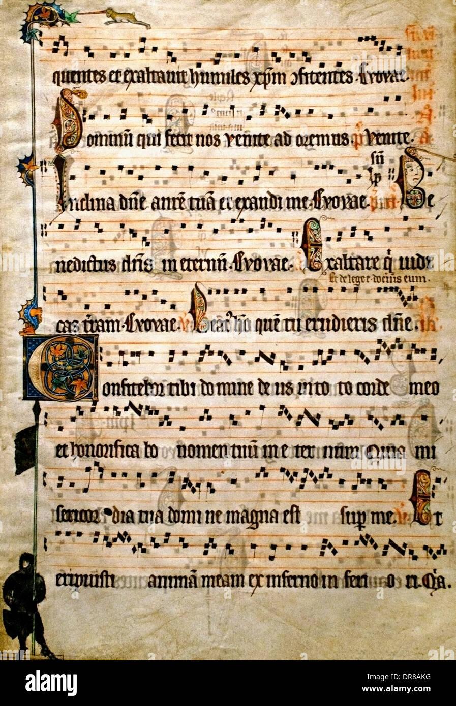 Sheet of an antiphonal Flanders ( Belgium Belgian Bruges or Ghent) 1310-1320 Feria 6 per annum Stock Photo