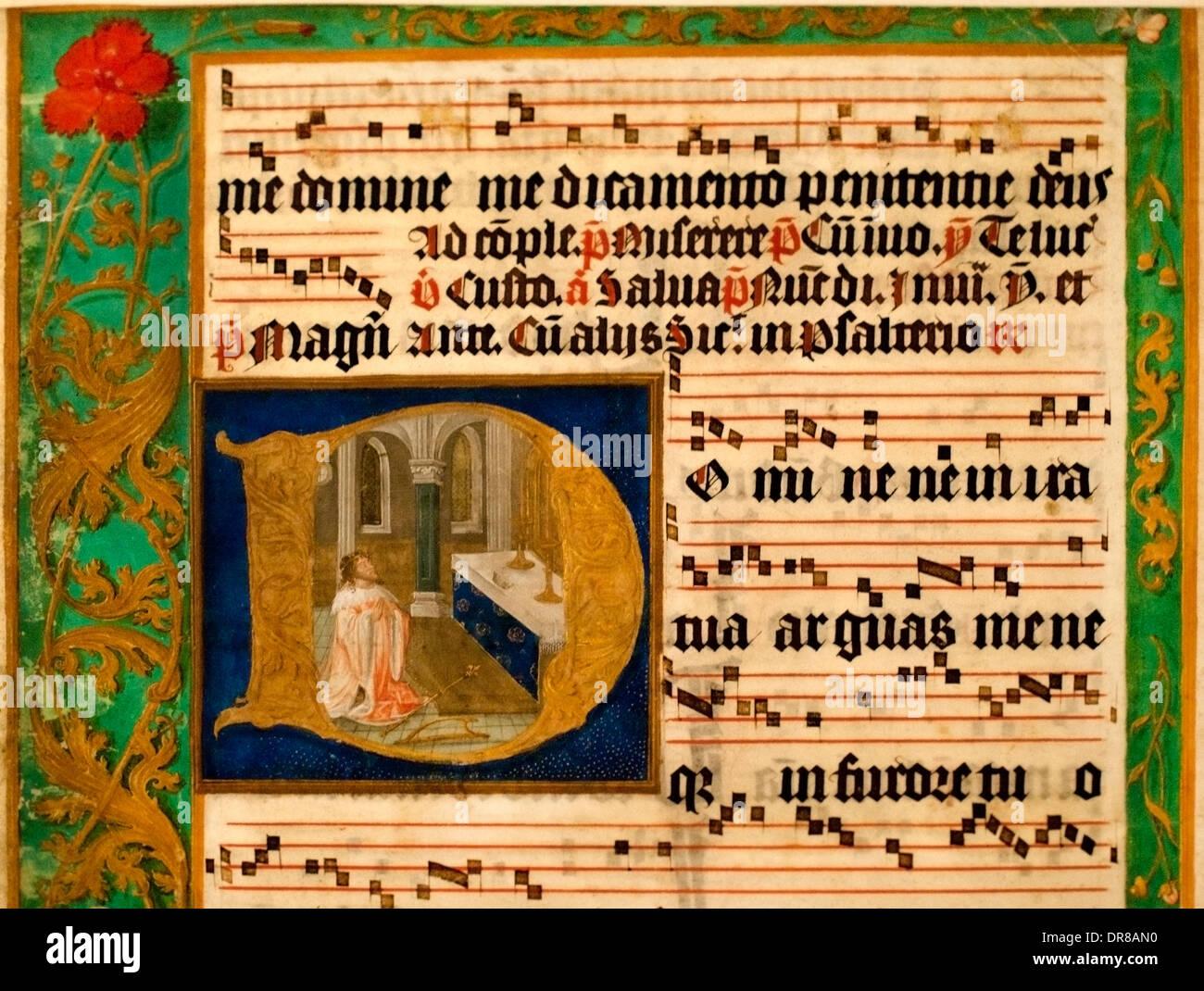 From a sheet of antiphonal Flanders (Bruges or Ghent) 1500-1525 (David penitent prayer) Belgium Belgian - Stock Image