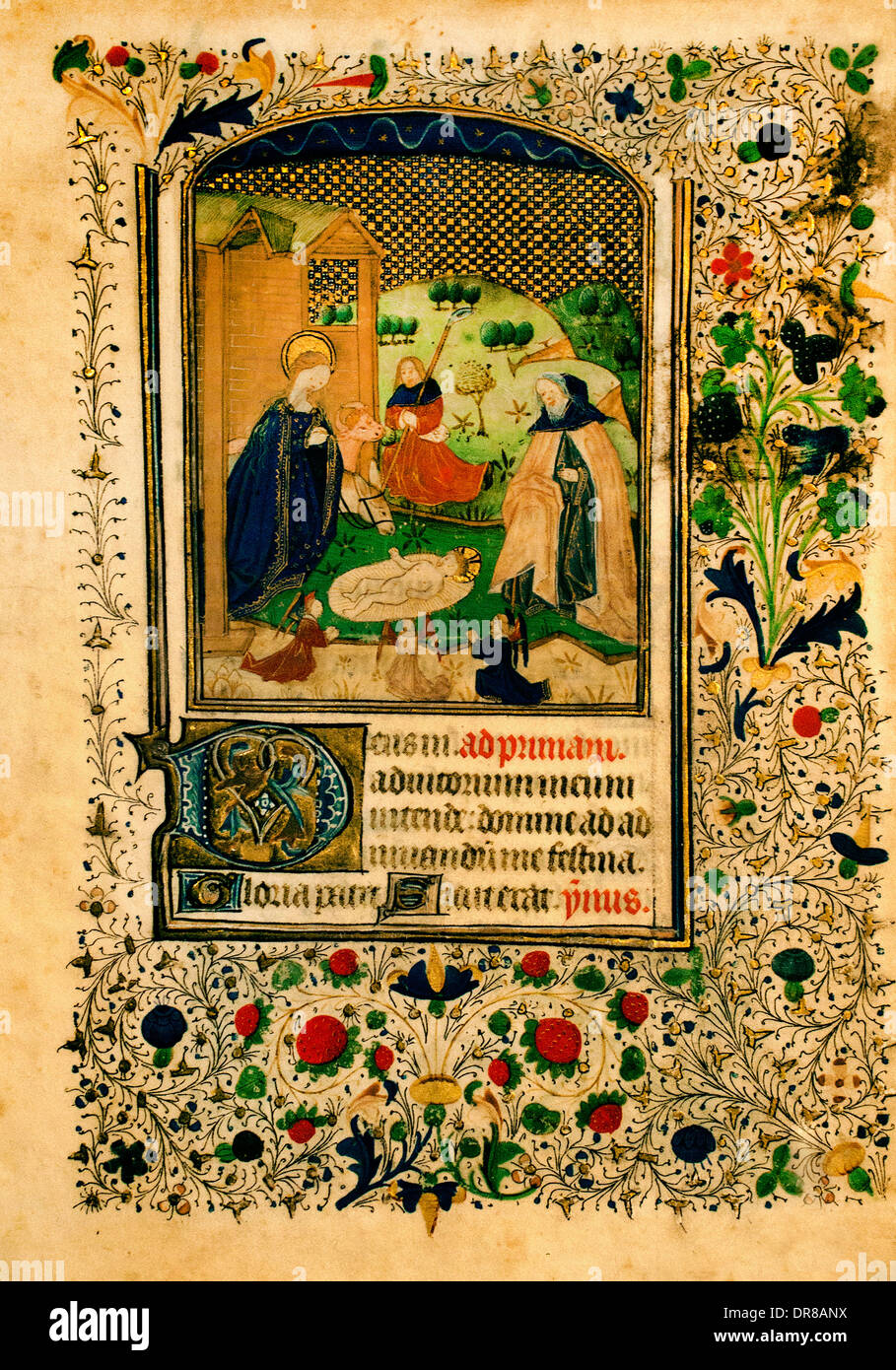sheet from a set of seven leaves of a book of hours Flanders (Bruges) Belgium 1450 Belgian Flemish - Stock Image