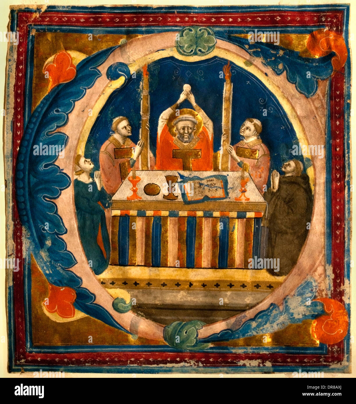 Elevation of the Host by gradual Master of the Dominican Effigies and Pacino di Bonaguida Florence 1330 - 1340 Italian Italy - Stock Image
